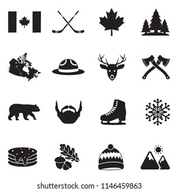 Canada Icons. Black Flat Design. Vector Illustration.
