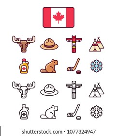 Canada icons set. Traditional Canadian signs and symbols. 2 styles, colored cartoon line icons and black outlines.