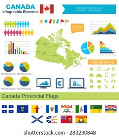 Canada Infographic Elements  Include:High detailed map of Canda and complete provincial flags