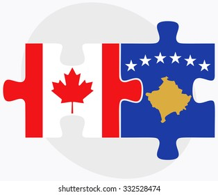 Canada and Kosovo Flags in puzzle isolated on white background