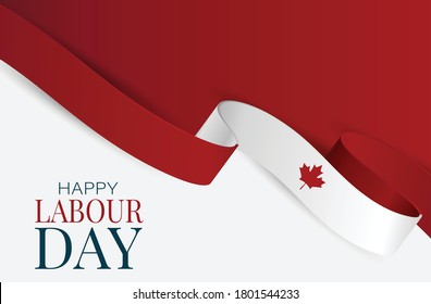 Canada Labour Day banner. Canadian waving ribbon flag background. National workers holiday concept. Vector illustration.