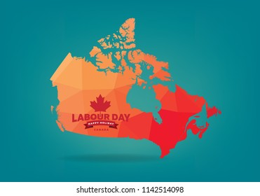 Canada labour day and happy holiday logo concept, vector eps 10.