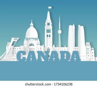 Canada Landmark Global Travel And Journey paper background. Vector Design Template.used for your advertisement, book, banner, template, travel business or presentation.