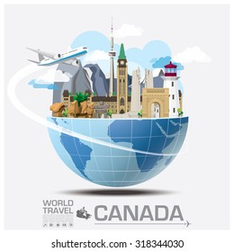 Canada Landmark Global Travel And Journey Infographic Vector Design Template