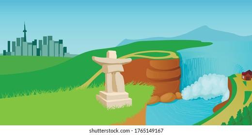Canada landscape horizontal banner concept. Cartoon illustration of Canada landscape vector horizontal banner concept for web