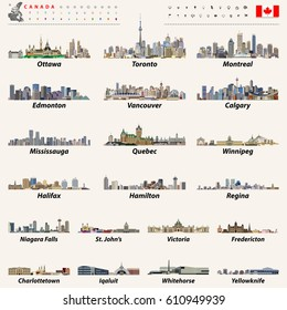 Canada largest cities and all states capitals skylines with location icons and canadian map and flag. Vector