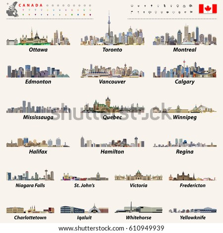 Canada Largest Cities All States Capitals Stock Vector Royalty Free