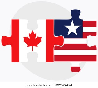 Canada and Liberia Flags in puzzle isolated on white background