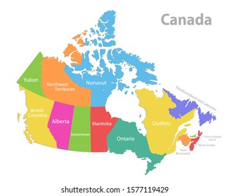 Canada map, administrative division, separate individual states with state names, color map isolated on white background vector