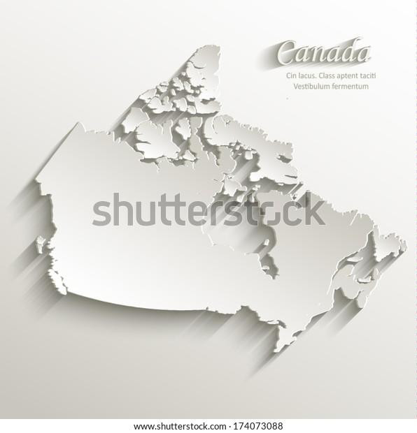 Kanada Kartta Kortti Paperi 3d Luonnollinen Arkistovektori