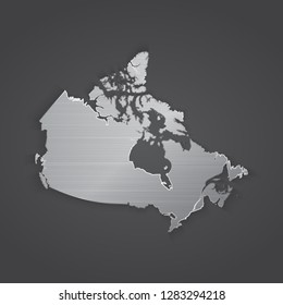 Canada map with chrome, metal shiny silver gradient. Vector illustration - Vector