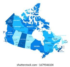 Canada map. Cities regions Vector illustration