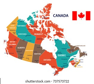 Canada map and flag - vector illustration