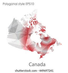 Canada map in geometric polygonal,mosaic style.Abstract gems triangle,modern design background. Vector illustration EPS10