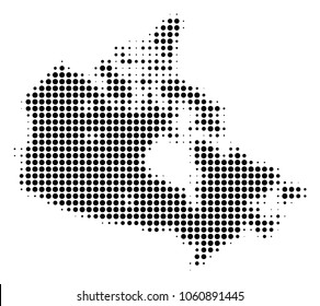 Canada Map halftone vector pictogram. Illustration style is dotted iconic Canada Map icon symbol on a white background. Halftone texture is circle blots.