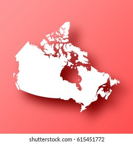 Canada Map isolated on red background with shadow. High detailed vector map.  Template for your design, website, infographic, brochure, cover, business annual report,...