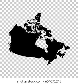 Canada map isolated on transparent background. Black map for your design. Vector illustration, easy to edit.