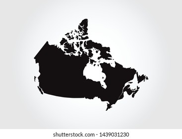 Canada map isolated on white background, Map minimal modern style black and white. Vector illustration