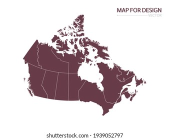 Canada map on white background vector illustration.