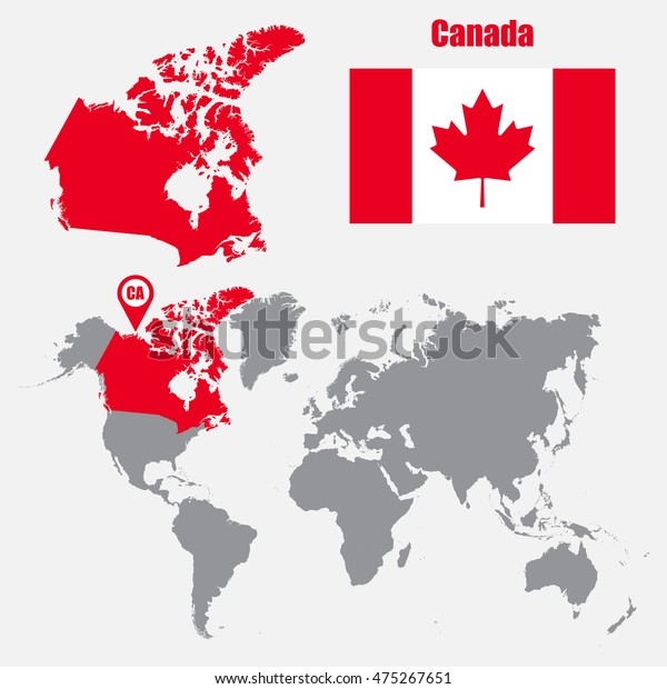 Canada Map On World Map Flag Stock Vektorgrafik Lizenzfrei