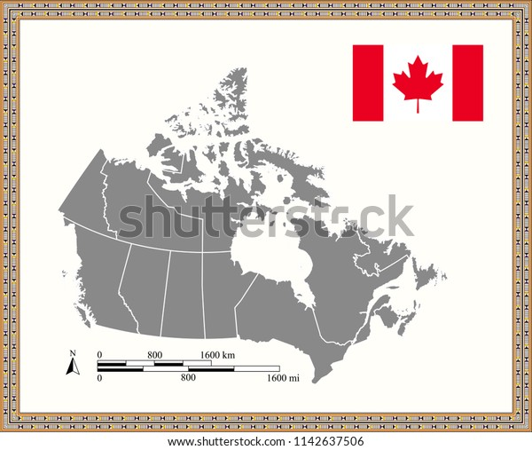 Canada Mileage Map Canada Map Outline Vector Mileage Kilometer Stock Vector (Royalty