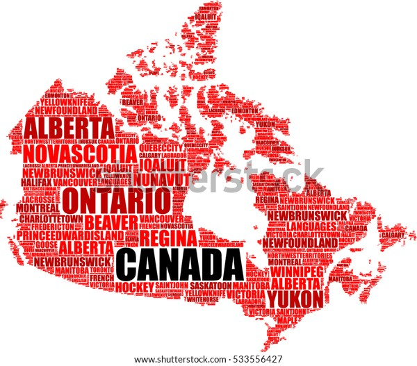 Canada map silhouette tag cloud vector illustration