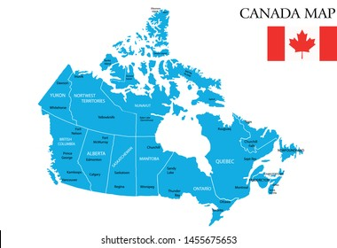 Canada map vector illustration, cities map