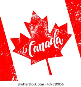 Canada maple leaf flag. Vector greeting card for Canada Day. Illustration for 1st of July Canada Independence Day with flag and red maple leaf.