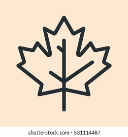 Canada Maple Leaf Minimal Flat Line Outline Stroke Icon Pictogram Symbol