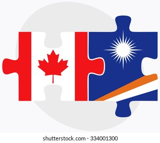 Canada and Marshall Islands Flags in puzzle isolated on white background