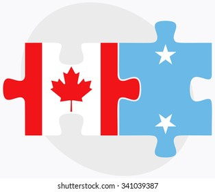 Canada and Micronesia Flags in puzzle isolated on white background