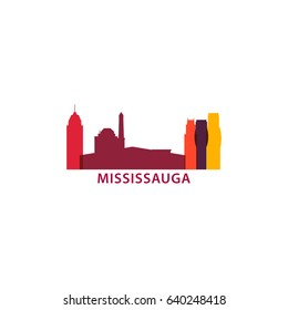 Canada Mississauga city modern landmark panorama silhouette vector logo icon