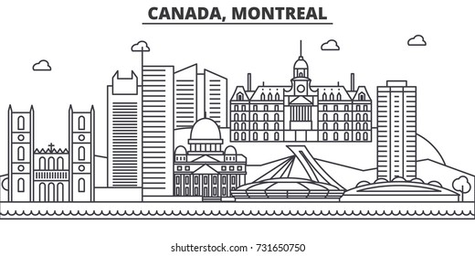 Canada, Montreal architecture line skyline illustration. Linear vector cityscape with famous landmarks, city sights, design icons. Landscape wtih editable strokes