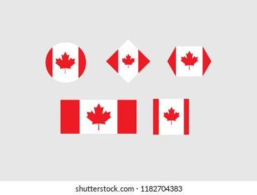 Canada national flag set country emblem state symbol