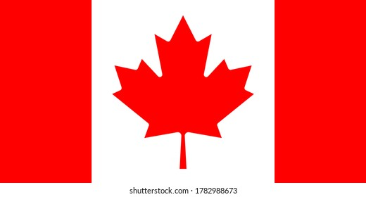 Canada national flag. Vector drawing of Standart size.