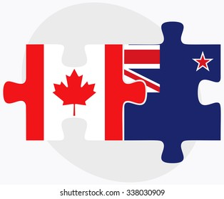 Canada and New Zealand Flags in puzzle isolated on white background