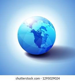 Canada, North America, Siberia and Japan Global World, Globe Icon 3D illustration, Glossy, Shiny Sphere with Global Map in Subtle Blues giving a transparent feel
