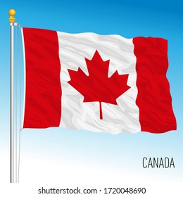 Canada official national flag, north american country, vector illustration