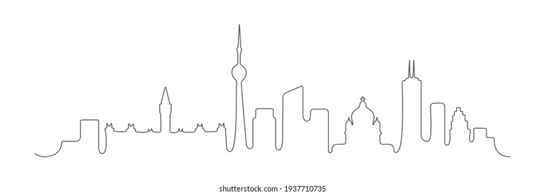 Canada one line buildings. Canada skyline architecture. Canadian famous city building. Vector illustration isolated on white