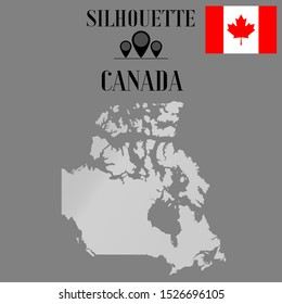 Canada, ottawa, toronto outline world map silhouette vector illustration, creative design background, national country flag, design element, symbols from countries all continents set.
