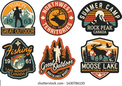 Canada outdoor adventure stickers and patches vector collection