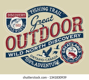 Canada outdoor wild north discovery vintage vector print for boy t shirt grunge effect in separate layer