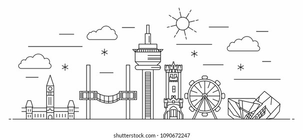 Canada panorama. Canada vector illustration in outline style with buildings and city architecture. Welcome to Canada.