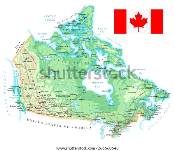 Canada Physical Map Stock Vector (Royalty Free) 266660648 on