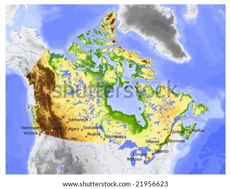 Colored Map Of Canada.Canada Physical Vector Map Colored According Stock Vector Royalty