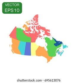 Canada political map icon. Business cartography concept Canada pictogram. Vector illustration on white background.