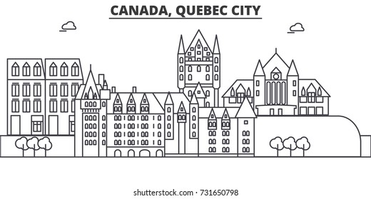 Canada, Quebec City architecture line skyline illustration. Linear vector cityscape with famous landmarks, city sights, design icons. Landscape wtih editable strokes