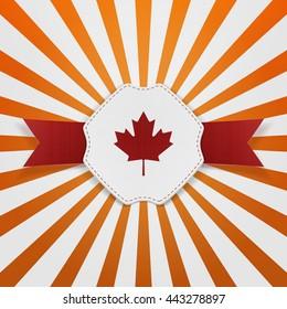 Canada red Maple Leaf on realistic Emblem