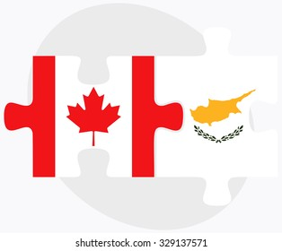 Canada and Republic of Cyprus Flags in puzzle isolated on white background