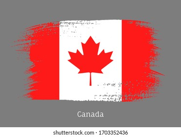 Canada republic official flag in shape of paintbrush stroke. Canadian national identity symbol for patriotic design. Grunge brush blot isolated vector illustration. Canada country nationality sign.